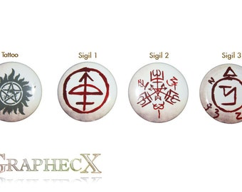 Fan-made Supernatural cosplay inspired personalized buttons