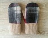 Plaid Wool Sweater Mittens // Fleece Lined // Handmade // Washable