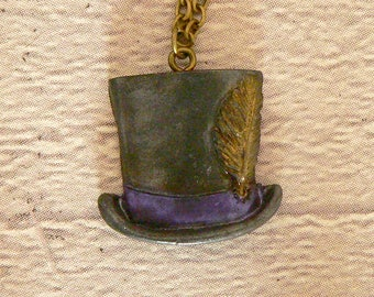 Purple Top Hat Pendant, Top Hat Necklace, Steampunk Pendant, Steampunk Necklace, Victorian Hat, Steampunk Jewellery, Steampunk Jewelry