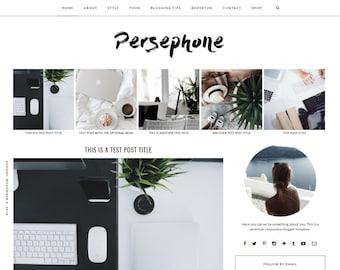 "Premade Blogger Template Responsive Design | Blog Theme ""Persephone"" | Instant Download | Graphic & Web Design"