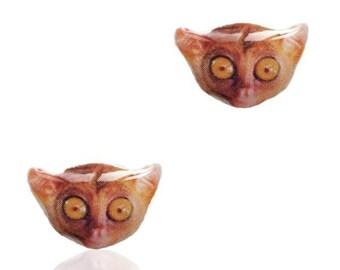 Tarsier Monkey Earrings - Monkey Earrings - Tarsier- Stud Earrings - Monkey Stud Earrings - Surgical Steel Earrings - Hypoallergenic Studs