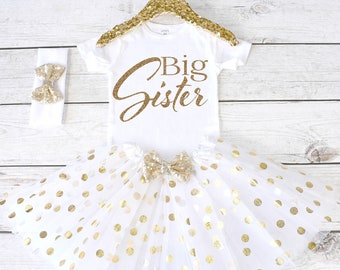 Big Sister Outfit. Big Sister Shirt. Big Sister. Big Sister Tutu Outfit. S43. PGA (WHITE)
