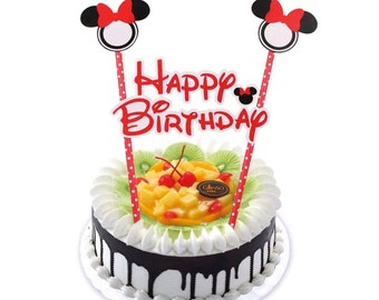 Minnie Mouse Happy Birthday Cake Topper Banner