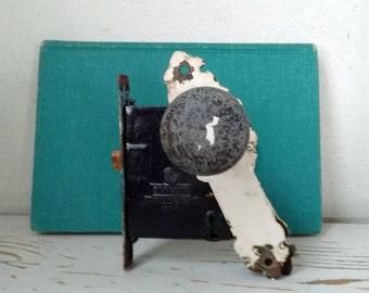 Salvage antique door knob and mortise lock with vintage door plate
