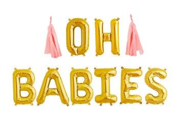 OH BABIES balloons - gold mylar foil letter balloon banner kit