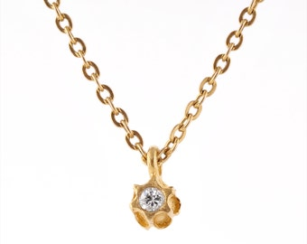 14k solid gold diamond necklace,diamond solitaire pendant,minimalist diamond necklace,anniversay diamond necklace,14k bezel set diamond,