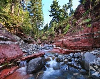 Red Rock, Canyon, Waterton – Nature, Outdoor, Landscape, River, Photography, Home Décor, Wall Art, Picture, Prints, Canvas – Alberta, Canada