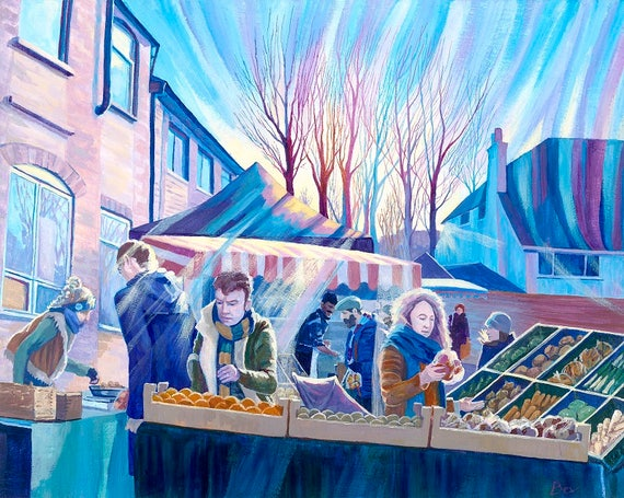 Solstace, original painting in acrylic of Crystal Palace food market in winter