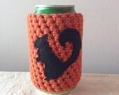 Cute Black Squirrel Crochet Animal Cozy in Pumpkin, Coffee Cozy, Reusable Cup Cozy, Can Cozy, Coffee Sleeve, Cup Sleeve by Maroozi