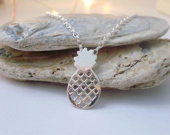 Silver Necklace Pendant, Pineapple Pendant, Sterling Silver Rolo Chain, Pineapple Charm, Pendant for Women, Best Friend Gift, handmade