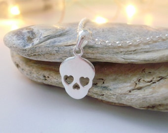 Silver Necklace Chain, Skull Pendant Necklace, Skull Necklace, Sterling Silver Chain, Sugar Skull, Gift for Women, Friend Gift, Handmade
