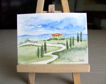 Tuscany landscape nature ACEO art card original etching illustration graphic print collecting art wedding birthday gift