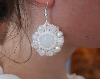 Snow white earrings white opal earrings white opal opal wedding holiday earrings boho chic beads earrings fancy earrings