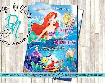 Little Mermaid Invitation 4 Options
