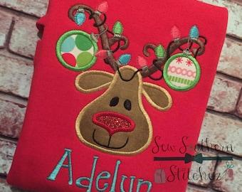 Ornament Reindeer Applique Design ~ Christmas Lights ~ Instant Download