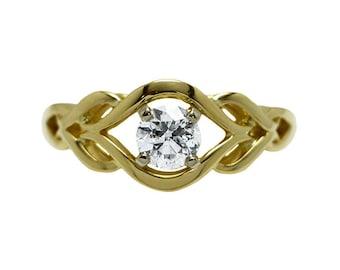 14k Yellow Gold GIA Certified Diamond Fancy Engagement Ring