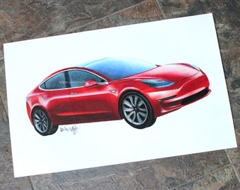 Tesla Model 3 Original Drawing - Car