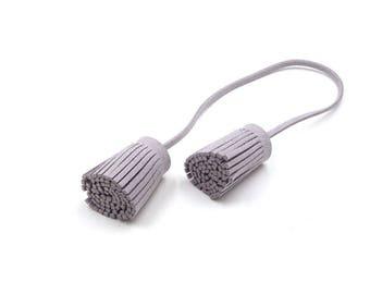 Tassels - Decorative Tassels - 4 Light Gray Cords, Attached Tassel Ends - Tassel Embellishments - Purse Tassel - Cell Phone Decor - TD-A04