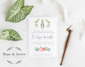 Peter Rabbit Baby Shower Invitation, Peter Rabbit Invitation, Peter Rabbit watercolor Invite, Digital Baby Shower Invite, Beatrix Potter