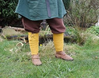 Viking Leg Wraps Winingas Medieval middleage reenactment romanic celtic germanic linnen ochre yellow larp fantasy