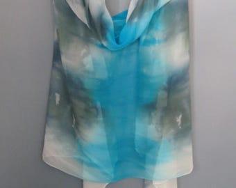 Silk shawl, beach coverup, pareo, chiffon sarong, silk wrap skirt, hand dyed silk