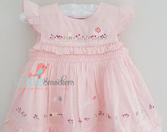 Beautiful pale pink spot voile hand smocked dress - sizes 3-6 months and 6-9 months