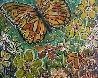 Original Mixed Media Textured  Painting- Butterfly in a Flower Garden - Acrylics and Oil Pastels