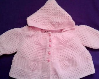Baby Hooded Crocheted Sweather 3-6 month size