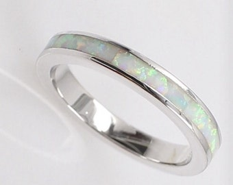 Sterling Silver White Fire Opal Ring Band