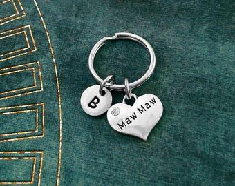 Maw Maw Keychain SMALL Heart Keyring Grandma Keychain Mother Keychain Grandmother Keychain Mother's Day Charm Keychain Personalized Gift