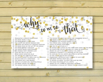 gold confetti bridal shower, printables, why do we do that, wedding traditions game, instant download, glitter wedding shower - br60