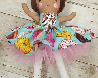 Handmade Doll, Rag Doll, Doughnut Lovers Gift, Fabric Doll, Custom Doll, Stuffed Doll, Baby Gift,Personalize Doll, Like Me Doll, Doughnut