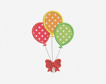 Balloons Applique Machine Embroidery Design - 1 Size