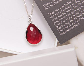 January Birthstone Necklace - Garnet drop pendant - Silver necklace - Garnet pendant - Elegant necklace - birthday gift for her, for mom