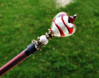 Japanese wooden hair stick with big murano lampwork heart in red, silver and delicate green - kanzashi hair pin wood hair ornament chopstick