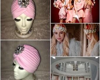 Scream Queens Chanel Oberlin Inspired Light Pink Crystal Rhinestone Vintage retro Turban Hat