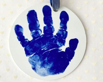Aluminum and Ceramic Handprint Ornament, Personalized on the Back, Handprint & Footprint Art Creations, Great Hoilday Gift Idea