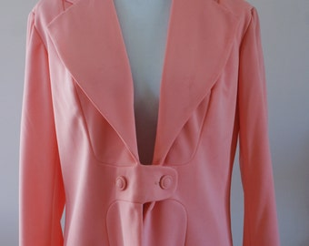 Coral Pink 1960's Vintage One Button Lined Polyester Blazer NWT Deadstock Size XL BTK-017