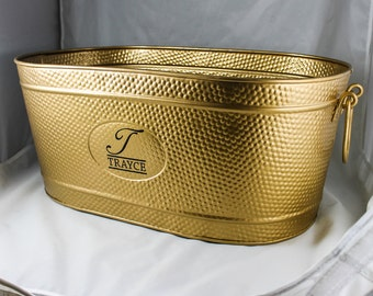 30% OFF Personalized Gold Galvanized Finished Large Pebbled Drink Wedding Gifts, Birthday, Party Beverage Tub *Monogrammed*