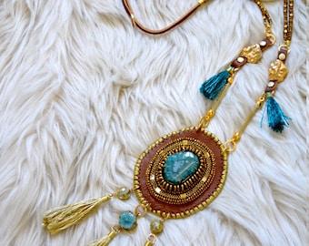 "Necklace ""BOHO BEACH Inspired"" Leather, Druzy geode, Laiton beads, Silk thread, Chain, Serpentine beads, Laiton apprets, Pyrite rondelles"