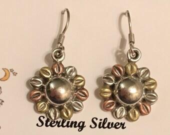Sterling Silver French Wire Flower Earrings