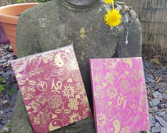 Peace Ying Yang Om Symbol Notebooks, Handmade Paper From Nepal, Burgundy And Pink 8 x 6.5 And 5.5 x 4.5