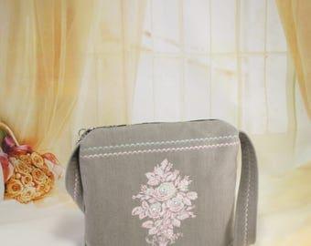 Embroidered handbag,Crossbody bag with embroidery,Women bag,Messenger bag,Shuollder bag with embroidery,Handmade bag,Gift for women