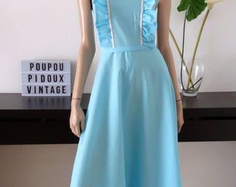 Robe bleue vintage longue volants, lurex et ceinture taille 34 - uk 6 - us 2