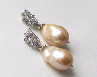 """Earrings with silver and pink Baroque pearls """"Touch..."""""""