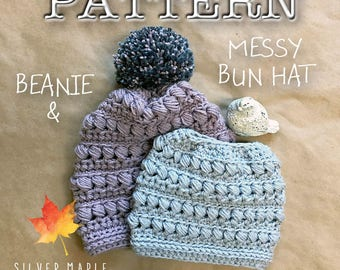 MESSY BUN Hat Pattern, Ponytail Hat Pattern, Crochet Beanie Pattern, Crochet Hat Pattern, Crochet Pattern, Bun Hat, Download