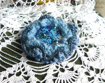 Blue beaded brooch pin Chanel brooch Victorian wedding brooch Baroque brooch Antique pin Crochet brooch Bohemian jewelry Gift ideas