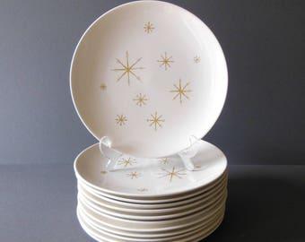 Set of 12 Star Glow dinner plates, Royal China, vintage mid century modern tabletop