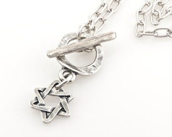 Silver Jewish Star Necklace, Jewish Star Necklace, Silver Magen David Necklace, Star of David, Judaic Star Necklace, Silver Star of David