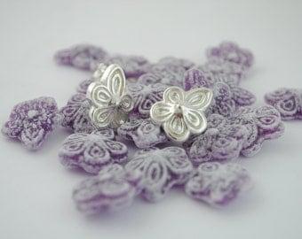 Violet earrings, silver earrings, violet silver, flower earrings, earrings madrid, sterling silver